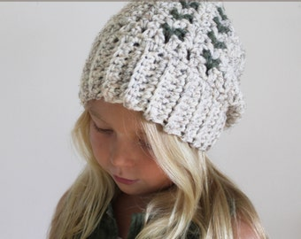 Crochet Pattern: The Clover Cap -Toddler, Child, & Adult Sizes- Slouchy Hat, ribbed, chunky