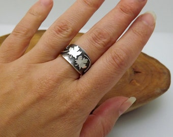 Maple Leaf Ring in Eco Friendly Sterling Silver - Size 7