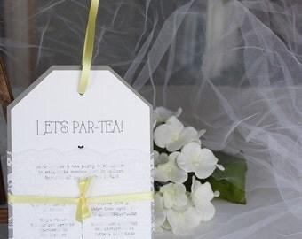 Tea Party Baby Shower Invitations, Tea Party Invitations, Baby Shower Invitations, Grey Yellow Baby Shower, Tea Bag Shaped Invitation