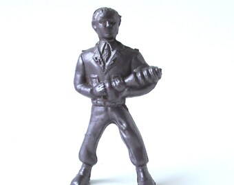 Captain Video Spaceman Figure 1950s, Vintage Silver Plastic Astronaut Toy, Buck Rogers, Space toy