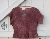 cropped sweater, mauve Crochet sweater, Vintage crochet, hand dyed sweater, S, boho rustic tattered, upcycled,