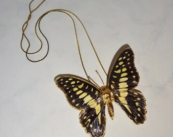Vintage Butterfly Necklace Pendant Brooch Pin Gold Tone Chain Black Yellow Butterfly