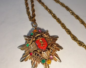 Vintage Coat Of Arms Necklace Medallion Pendant French Fleur de Lis