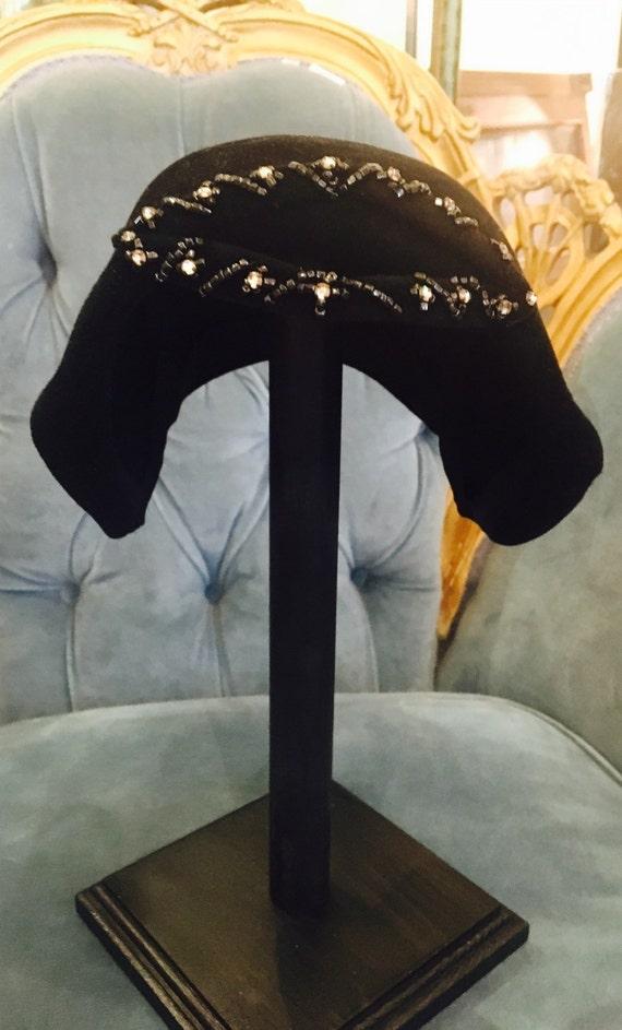 Vintage 1950s Argence of France Small Black Felt Hat