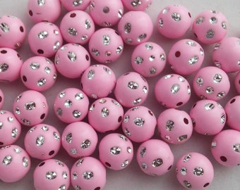 12 Beads - 12mm Pink Sparkle Beads, Acrylic beads, plastic gumball beads