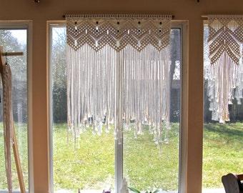 "SALE Macrame Wall Hanging - Natural White Cotton 36"" Dowel w/ Beads - Wedding Backdrop, Curtain, Boho Home, Nursery Decor - Ready To Ship"