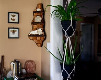 """Macrame Plant Hanger - 60"""" Simple - Natural White Cotton Rope - Double Indoor Hanging Planter - Boho Home Decor - MADE TO ORDER"""