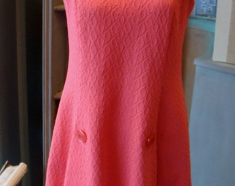 NEON PINK DRESS 1970's textured polyester M