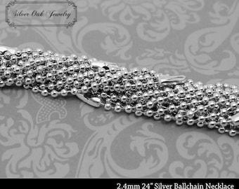 SOJ-064: Set of 10 - 30 inch 2.4mm Bright Silver Ballchain Necklaces