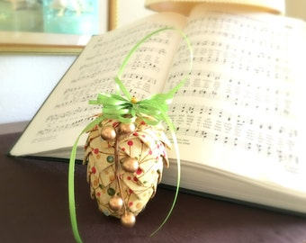 Quilted Pine Cone Ornament,  Fabric Pine Cone, Christmas Tree Ornament , Handmade, Gold, Red, Green, Pine Cone Decoration