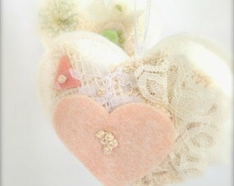 Heart Favors Hanging Heart Wedding Heart Vintage Inspired Bridal Showers  Heart Fiber Art  Bridesmaids, Guests  Made to Order