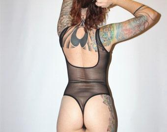 Custom Black Sheer Mesh Thong Back Bodysuit Teddy  /Any Size /Made to Measure