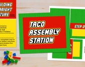 INSTANT Taco Assembly Station - LEGO Inspired Teacher Appreciation and Birthday Printables