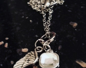April Birthstone Guardian Angel Necklace - Style 2 - For a loved one, a friend, yourself, a gift - Keepsake