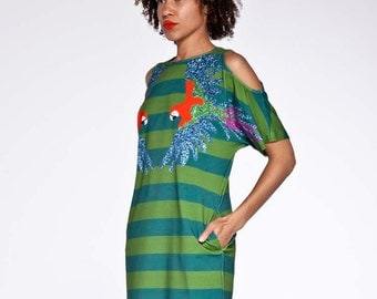 SUMMER SALE Organic cotton cut out shoulder summer dress with macaw and stripes pattern.