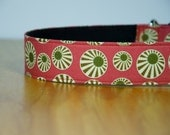 """Sukie, large, 1.5"""" wide martingale (greyhound) collar, extra strong, coral pink and olive green"""
