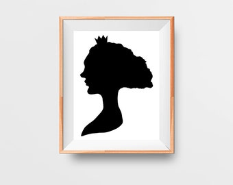 White Queen Art Print - Black and White Silhouette - Minimalist Wall Art - Printable - Instant Download - 8x10