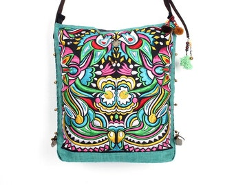 Cross Body Bag With Embroidered Fabric Leather Strap (BG032-19C24)