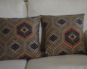 TWO 18x18 Pillow covers in Grey, brown, charcoal, and red Tribal print
