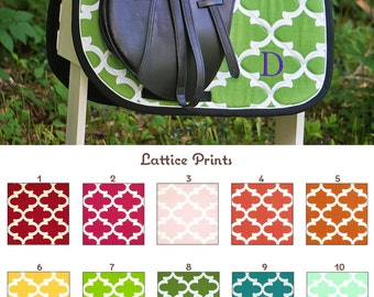 MADE TO ORDER Lattice Print Saddle Pad Many Colors