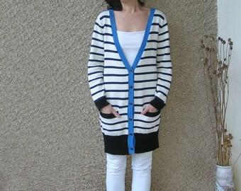 Vintage long nautical cardigan blouse, size S-M