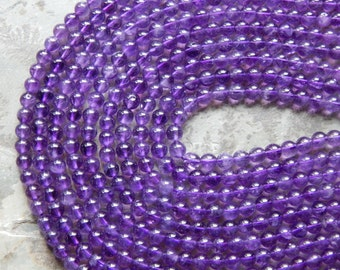 6mm A Grade Genuine Natural Amethyst Semi-Precious Round Polished Beads, Half Strand (IND2C10)