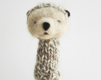 Finger Puppet Soft Toy - OTTER, needlefelted from wool and knitted with yarn, neutral colors