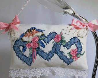 Bluebirds Hearts Cross Stitch Door Hanger Pillow Pinkeep