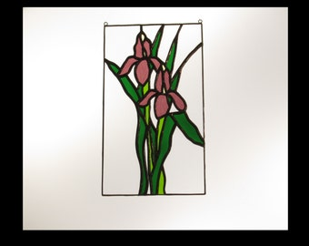 Stained Glass Iris Panel - Price Includes Shipping
