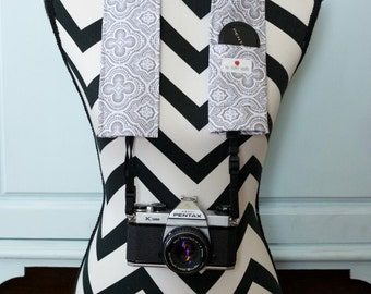 Camera Strap Cover- lens cap pocket and padding included- Grey and White Medallions