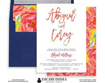 BRIDAL SHOWER INVITATION Bridal Shower Invite Bright Floral Printed Ready Made Invitations or Printable Bridal Shower Invitation - Abigail