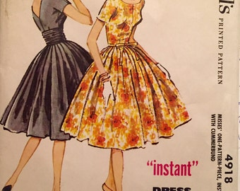 "Vintage 1959 McCall's Misses' Dress Pattern 4918 Size 16 (36"" Bust) UNCUT"