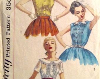 """Vintage 1957 Simplicity Misses' Blouse Pattern 2005 Size 12 (32"""" Bust)"""