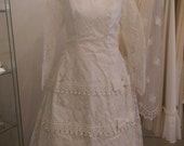 Winifred - 1950's True Vintage Long Lace Wedding Dress with Sleeves and Bow at the Back.