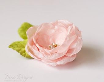 vintage light pink flower and green leaves  hair barrette, floral headpiece, pale pink flower hair clip