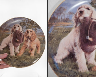 Franklin Mint Plate 1990s Hat Trick Jim Killen HA6498 Spaniel Dogs