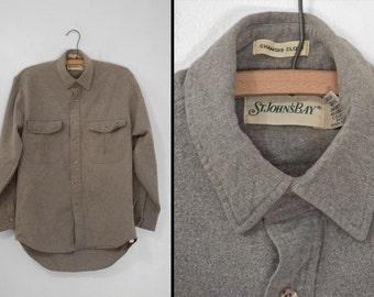 Gray Oxford CHAMOIS Shirt St John's Bay Size 15 Neck Men's Medium Women's Large