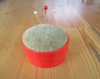 Vintage Collectible Pin Pincushion Box Round Box with Inside Mirror Red and Velvet Top Pin Cushion