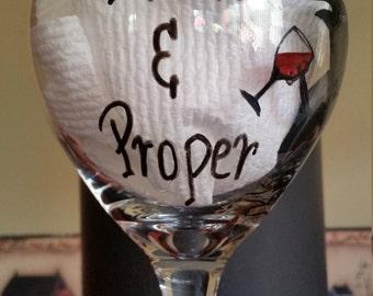 Folk Art Wine Glass, Prim and Proper, crow drinking wine, Hand Painted wine glass, primitive wine drinker