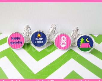 Glam Camping Chocolate Kiss Stickers - Glamping Stickers - Camping Candy Stickers - Camping Favor Stickers - Digital & Shipped Available