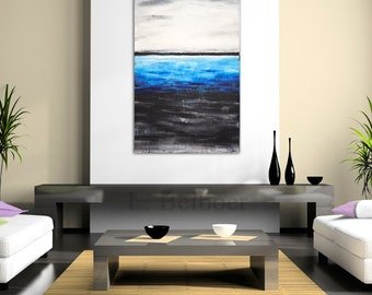 Original abstract painting large contemporary raw art blue white 24 x 36 modern oil painting by L.Beiboer