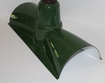 Large Rectangular Green Enamel Shade Vintage 1950s Industrial Gas Station Farmhouse Decor