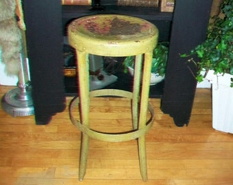 Metal Kitchen Stool Green Vintage Rustic Farmhouse Decor : vintage metal stool - islam-shia.org