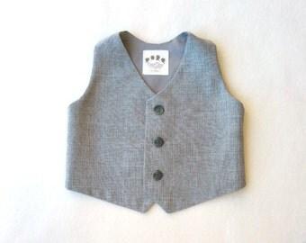 Made to Order: Boys Vest, Baby Waistcoat, Baby Vest, Toddler Vest, Baby Ring Bearer, Grey Vest, Gray Ring Boy, Ring Bearer Vest, Dress Vest