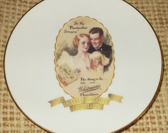 Whitmans Chocolate Plate Whitmans 150th Anniversary Promotion Plate Saturday Evening Post Illustration