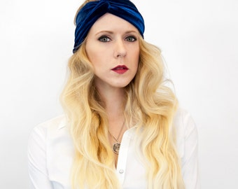 Velvet Headband, Twist Headband, Blue Headband, Womens Headband, Turban Headband, Adult Headband Hair Wrap, Winter Headband, Gift for Her