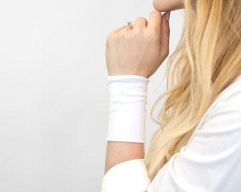 White Wrist Cuff Bracelet, Stretch Cuffs, Jersey Tattoo Cover Up Wrist Covers, Long Wide Arm Wristband Band, Fabric Jewelry Armband