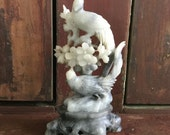 Beautiful Vintage Handcarved Ornate Chinese Soapstone Sculpture of Birds and Flowers