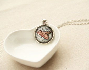 Custom Map Necklace -Sicily Island, Italy -Vintage Map Series (M008)