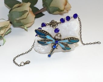 Dragonfly with brass and blue crystals-Rear view mirror hanging, car charm